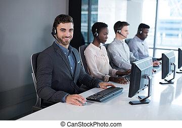顧客服務, 執行, 工作在, 辦公室