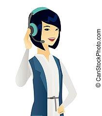 顧客服務, 年輕, headset., 亞洲人, 操作員