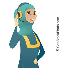 顧客服務, 穆斯林, 年輕, headset., 操作員