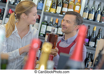 顧客, びん, 寄付, 酒, 女性, セールスマン