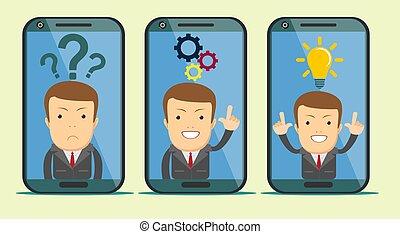 顧客, オペレーター, サポート, smartphone, screen.