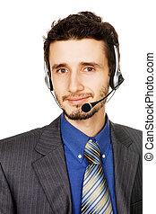 顧客, オペレーター, 若い, サービス, ハンサム