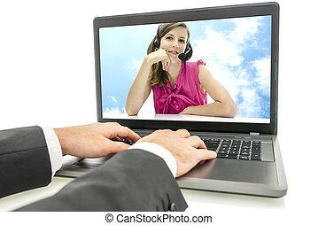 顧客, オンラインで, 呼出し, 談笑する, 中心
