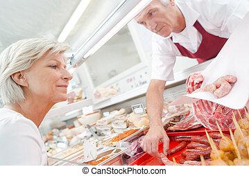 顧客, シニア, 給仕, 肉屋