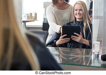顧客, スタイル, タブレット, 提示, 毛, デジタル