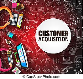 顧客, スタイル, 概念, いたずら書き, デザイン, 獲得