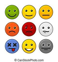 顧客, セット, フィードバック, アイコン, バックグラウンド。, ベクトル, 微笑, 白