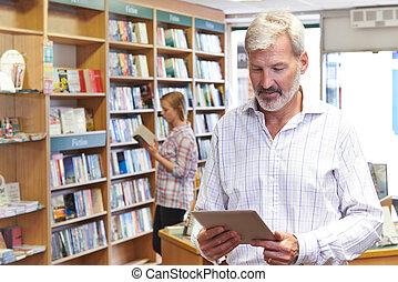 顧客, タブレット, 書店, 背景, デジタル, 所有者, 使うこと, マレ