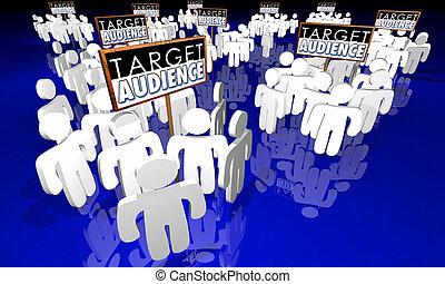 顧客, ターゲット, イラスト, 聴衆, 基盤, グループ, サイン, 3d