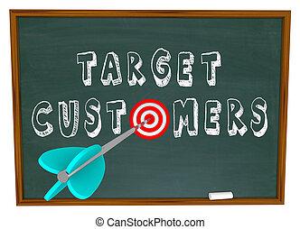 顧客, -, ターゲット, 言葉, 黒板