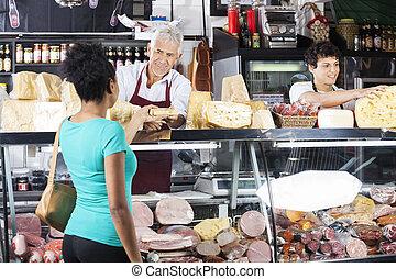 顧客, チーズ, 寄付, カウンター, 女性, セールスマン