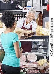 顧客, チーズ, 寄付, 女性, シニア, セールスマン