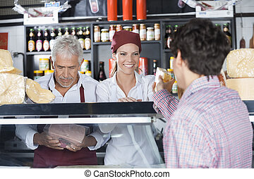 顧客, チーズ, 給仕, 女子販売員, 店, 微笑