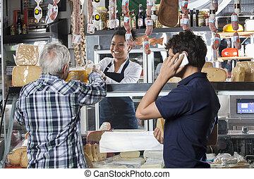 顧客, チーズ, 販売, 女子販売員, 店