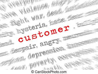 顧客, テキスト, 効果, フォーカス, blured, ズームレンズ