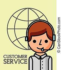 顧客, ビジネス, サービス, オペレーター, 世界, 人
