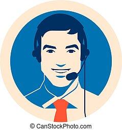 顧客, ヘッドホン, サポート, 中心, コミュニケーション, 電話オペレーター, クライアント, 呼出し, サービス...