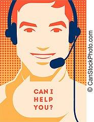 顧客, ヘッドホン, サポート, poster., 中心, コミュニケーション, 電話オペレーター, クライアント, 呼出し, サービス, assistance.
