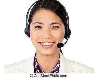 顧客, ヘッドホン, サービス技術者, 使うこと, 微笑
