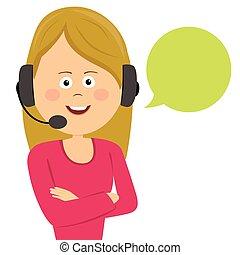 顧客, ヘッドホン, サービス, スピーチ, 女性, オペレーター, 泡