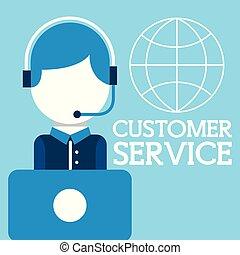 顧客, ヘッドホン, サービス, ラップトップ, オペレーター, 世界, 人