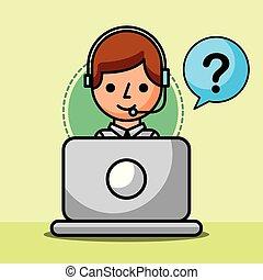 顧客, ヘッドホン, サービス, 仕事, ラップトップ, オペレーター