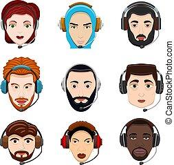 顧客, ヘッドホン, スタイル, セット, 中心, サービス, 人々が彩色する, 印。, 男性, 別, イラスト, team., 女, 呼出し, 図画, 国籍, 仕事, ベクトル, 漫画, avatar