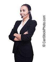 顧客, ヘッドホン, 保持, 女, 彼女, サービス, 若い, 隔離された, 地位, representative., 確信した, 間, 交差させた 腕, 微笑, 白