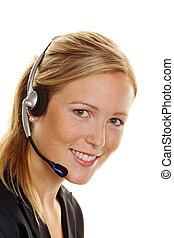 顧客, ヘッドホン, 女, service., 受諾, 電話, hotline, 順序