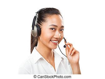 顧客, ヘッドホン, 概念, 女性実業家, サポート, エージェント, -, 販売, アジア人, マネージャー