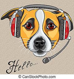 顧客, ヘッドホン, 言う, russell, サービス, 労働者, 犬, テリア, 電話, ジャッキ, オペレーター...
