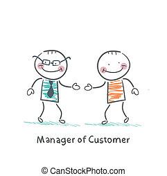 顧客, マネージャー, クライアント, 出迎える