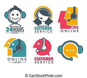顧客, ロゴ, について, 女, 紋章, 助け, サービス, set., プロダクト, 昇進, 教育的である, headset., オペレーター, 買われた