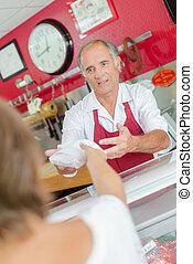 顧客, 上に, 給仕, 肉屋, カウンター
