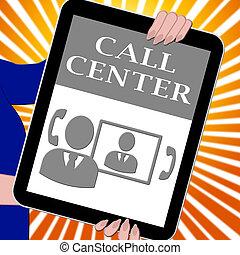 顧客, 中心, タブレット, イラスト, サービス, 呼出し, ショー, 3d