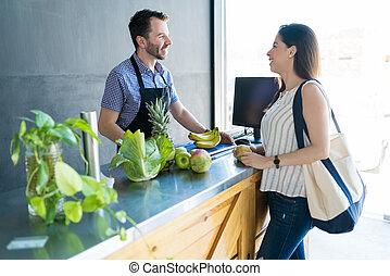 顧客, 助力, 食料雑貨, キャッシャー, 店
