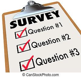 顧客, 単語, フィードバック, チェックリスト, クリップボード, 調査, 投票