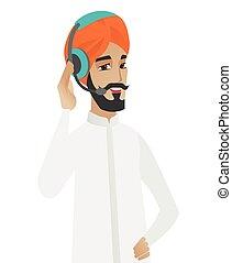 顧客, 印度人, 操作員, headset., 服務