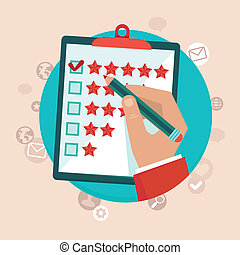 顧客, 套間, 風格, 概念, 反饋, 矢量