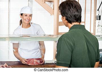顧客, 女性, 販売, 肉, 肉屋
