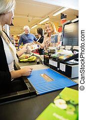 顧客, 寄付, カウンター, キャッシャー, パケット, 女性, チェックアウト