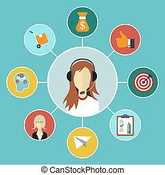 顧客, 平ら, 概念, ネットワーク, マーケティング, 現代, イラスト, infographic, ベクトル, デザイン, service.