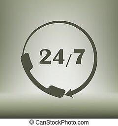 顧客, 平ら, call-center., サポート, all-day, アイコン