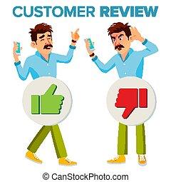 顧客, 店, よい, work., 平ら, レビュー, 特徴, 隔離された, 不幸, ひどく, クライアント, イラスト, vector., feedback., 品質, 漫画, man., 幸せ