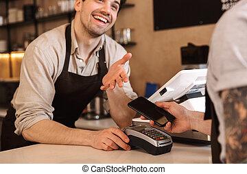 顧客, 店, コーヒー, カウンター, の上, 支払う, 終わり