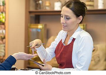 顧客, 店, コーヒー, 給仕, 肖像画, ウェートレス