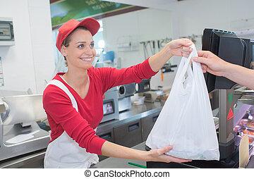 顧客, 店, 寄付, カウンター, 肉屋, 袋, 女性