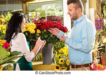 顧客, 店, 花の 花束, 命令, 花, 人