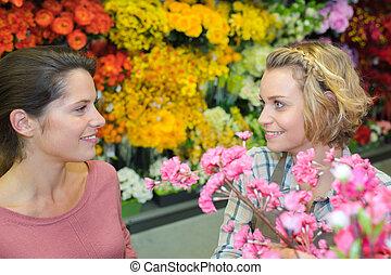 顧客, 店, 花, 女性, 花屋