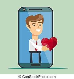 顧客, 心, 管理, 関係, 寄付, -, 隔離された, 背景, ビジネスマン, 赤